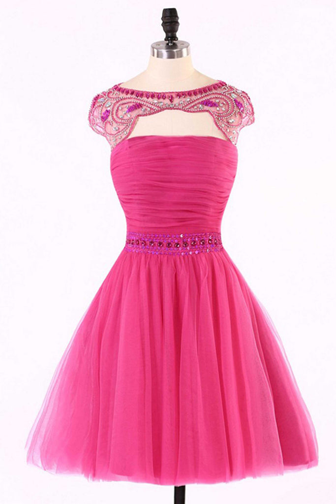2019 Prom Dresses | Cute hot pink short dresses,unique beading handmade short dress for teens