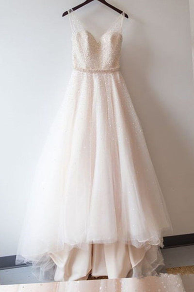 Ivory tulle sequins A-line long dress,graduation dresses with straps - prom dresses 2018