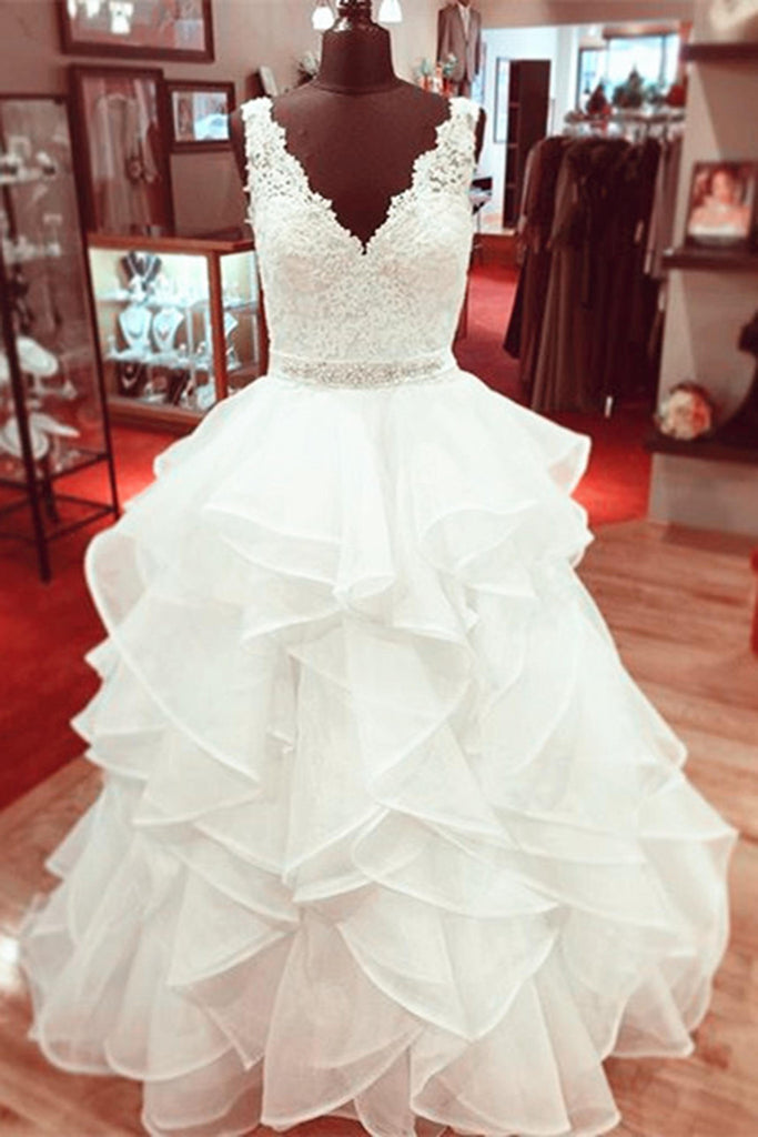 Sweet 16 Dresses | White tulle lace V-neck A-line long prom dress,evening dress for teens