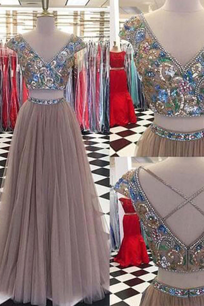 Luxury tulle two pieces V-neck A-line long dresses,beading sequins handmade dresses - prom dresses 2018