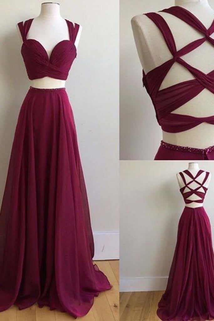 2019 Prom Dresses | Crimson chiffon two pieces long dresses,unique back dresses for prom