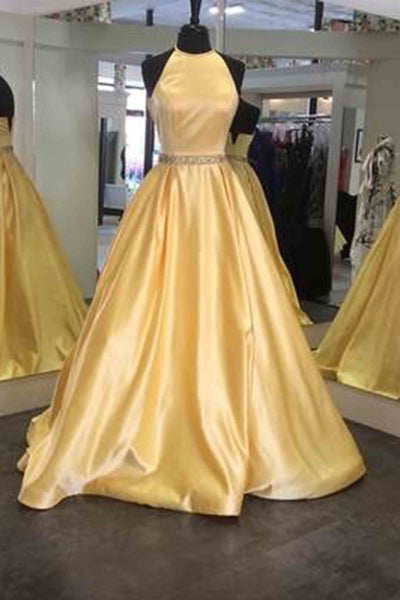Sweet 16 Dresses | Yellow satins A-line round neck backless long prom dress,graduation dress