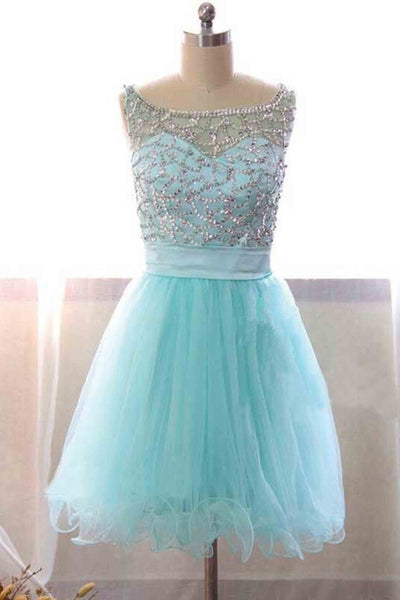 Light blue organza round neck beading sequins short prom dress,cute dress - prom dresses 2018