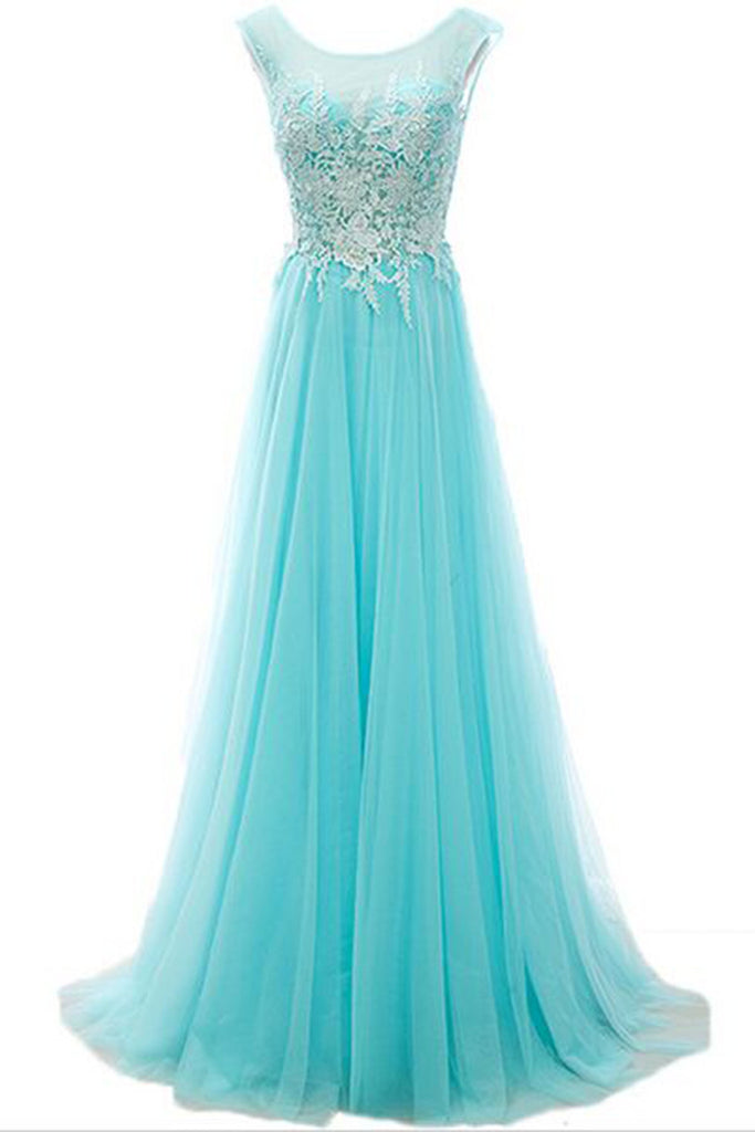 2019 Long Prom Dresses | Baby blue tulle lace round neck A-line long dresses,evening dresses