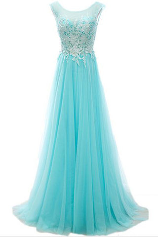 Baby blue tulle lace round neck A-line long dresses,evening dresses