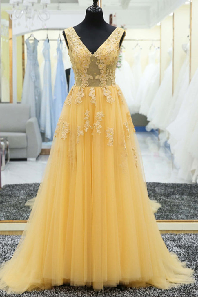 Yellow tulle tulle lace applique V-neck long prom dress, evening ...
