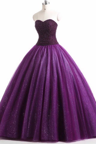 Purple organza sweetheart ball gown long prom dress, evening dresses