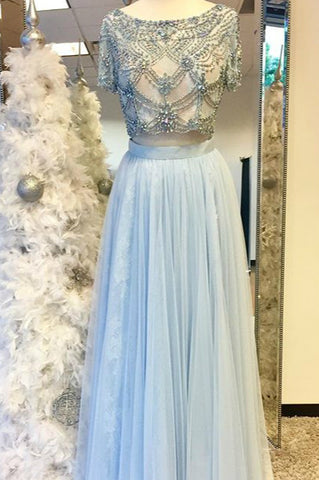 Elegant light blue chiffon two pieces beaded round neck dress,short sleeves dress