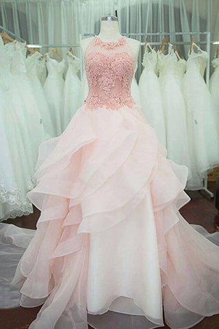 Pink tulle round neck A-line floor-length prom dresses,long dress for teens