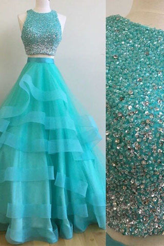 Blue tulle two pieces sequins A-line round neck long prom dress for teens