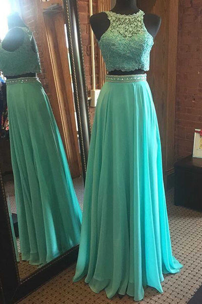 Blue chiffon two pieces round neck sequins long prom dresses,evening dress - prom dresses 2018