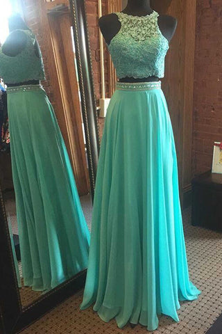Blue chiffon two pieces round neck sequins long prom dresses,evening dress