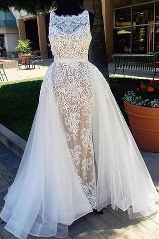 White tulle lace round neck long prom dress,unique design dress for prom