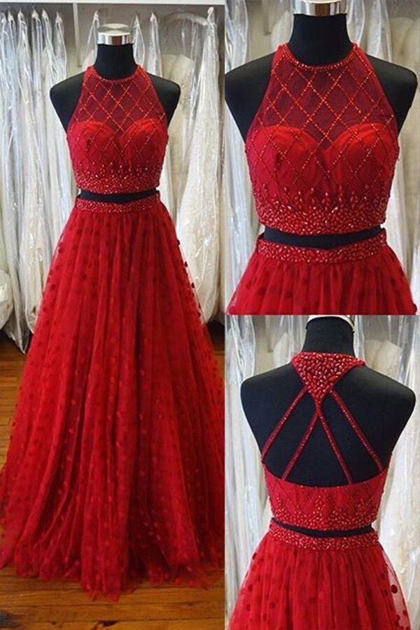 Red tulle two pieces beaded round neck A-line long dress for prom - prom dresses 2018