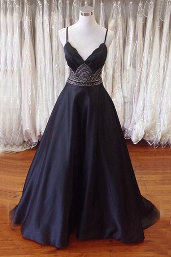 2019 Prom Dresses | Black satin v- neck A-line long dress for prom,long dress with straps