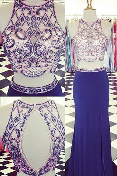 Sweet 16 Dresses | Two pieces round neck sequins beading long dresses,prom dresses