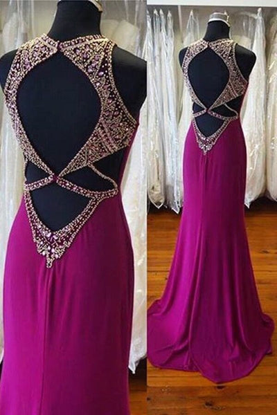Sweet 16 Dresses | Purple chiffon backless round neck sequins beading long dresses,prom dresses