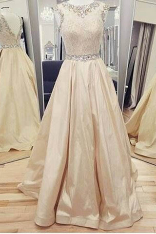 Champagne gold satins sequins round neck A-line long dress,prom dress