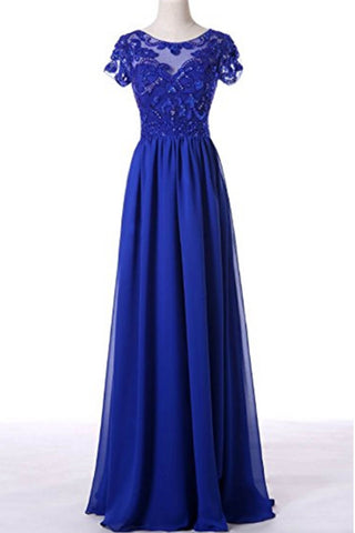 Navy blue chiffon applique see-through short sleeves long dress,prom dress