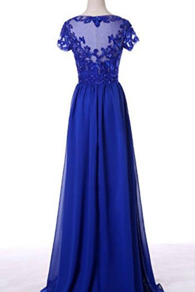 Navy blue chiffon applique see-through short sleeves long dress,prom dress - prom dresses 2018