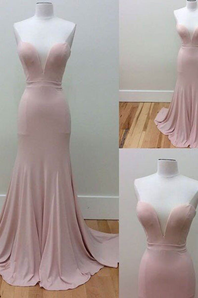 Sexy pink chiffon v-neck strapless long mermaid dresses,evening dresses - prom dresses 2018