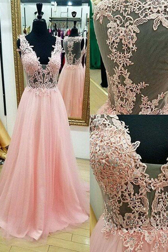 Sweet 16 Dresses | Pink tulle v-neck lace applique long A-line prom dresses,evening dresses