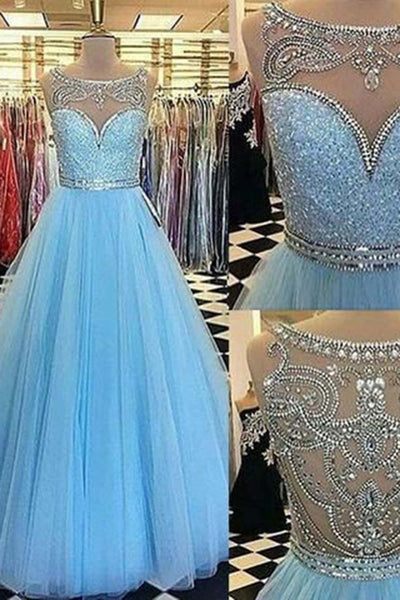 Light Blue Tulle A Line Sequins Beaded Long Prom Dresses