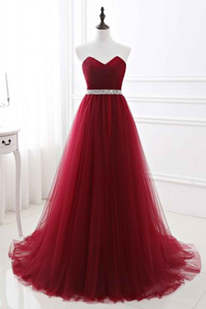 Red tulle sweetheart A-line sequins long prom dress evening dresses ...