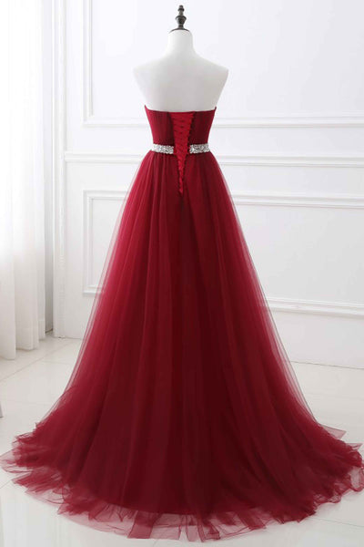Sweet 16 Dresses | Red tulle sweetheart A-line sequins long prom dress evening dresses