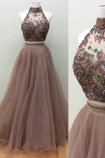 2019 Long Prom Dresses | Brown tulle two pieces A-line beaded A-line long prom dress evening dresses