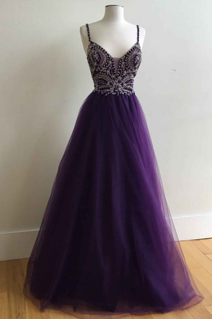 2018 evening gowns - Purple tulle v-neck A-line long prom dress with straps evening dresses
