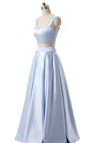 Light blue satins two pieces simple long dress,prom dress with straps - prom dresses 2018