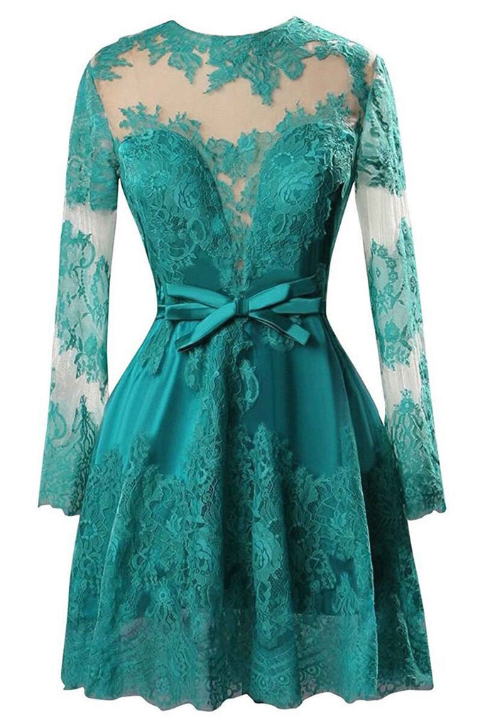 Green satins lace applique see-through long sleeves short dress,prom dress