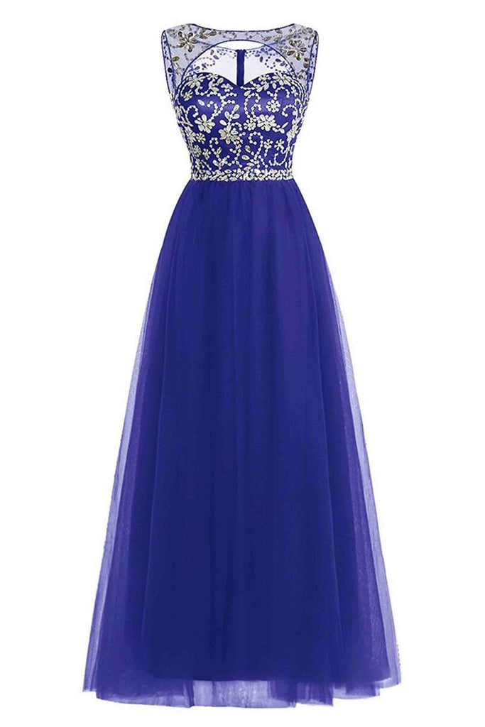 A-line scoop neck tulle floor-length beading open back royal blue prom dresses - prom dresses 2018