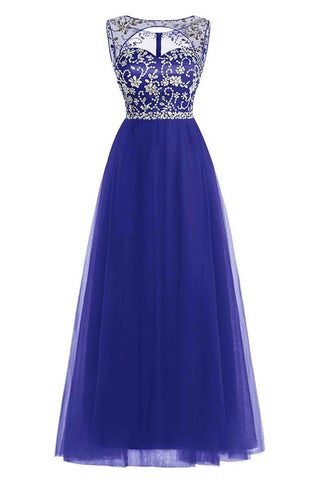 A-line scoop neck tulle floor-length beading open back royal blue prom dresses