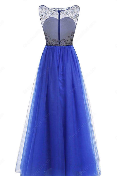 2019 Prom Dresses | A-line scoop neck tulle floor-length beading open back royal blue prom dresses