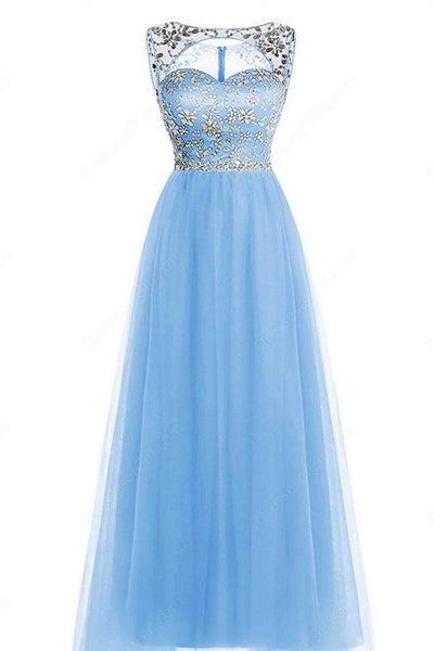 Sweet 16 Dresses | Light blue A-line scoop neck floor-length beading open back  prom dresses