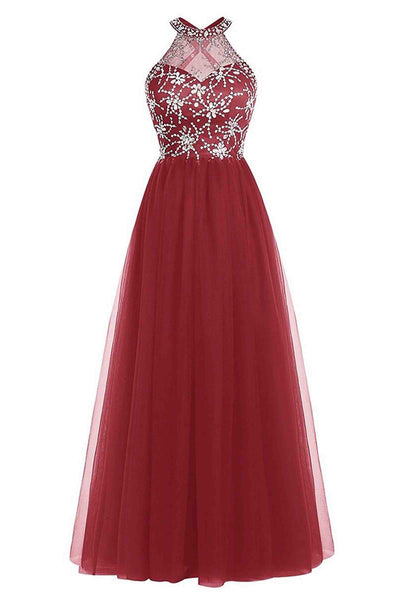 Red A-line O-neck beading full-length open back evening dress , prom dresses