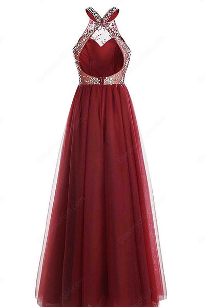 Red A-line O-neck beading full-length open back evening dress , prom dresses - prom dresses 2018