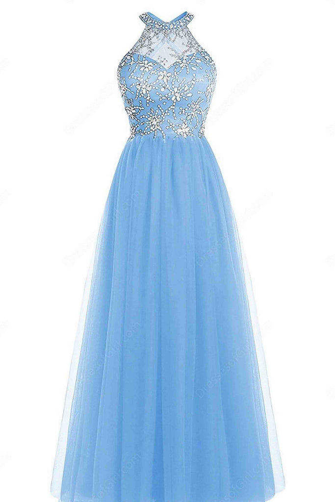 Sweet 16 Dresses | Light blue A-line O-neck beading full-length evening dress , prom dresses