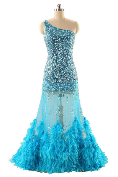 2019 Prom Dresses | Blue tulle sequins one-shoulder mermaid see-through floor-length, prom dresses