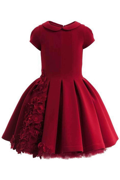Red round neck cap sleeves short prom dress ,girls dress - prom dresses 2018