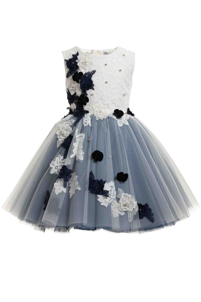 2018 evening gowns - Navy blue & white floral embroidered dress ,girls dress