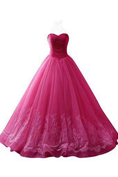 2018 evening gowns - Hot pink sweetheart ball gown dresses,with lace applique