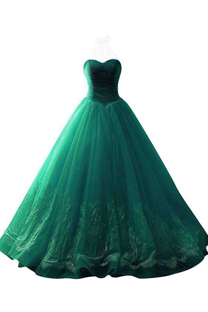 Green sweetheart ball gown dresses,with lace applique - prom dresses 2018