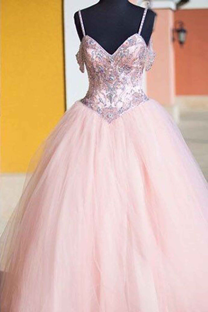 Pink tulle sequins lace up ball gown dress,princess prom dresses ...