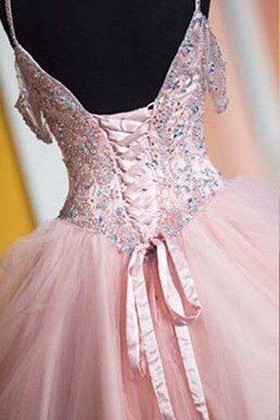 Pink tulle sequins lace up ball gown dress,princess prom dresses with straps