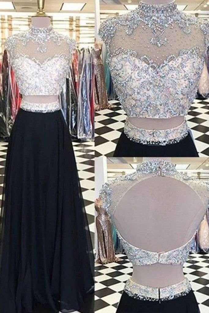 Black chiffon two pieces round neck beaded sequin backless long prom dress