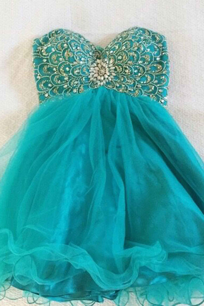 Sweet 16 Dresses | Turquoise organza beaded sequin sweetheart short prom dress