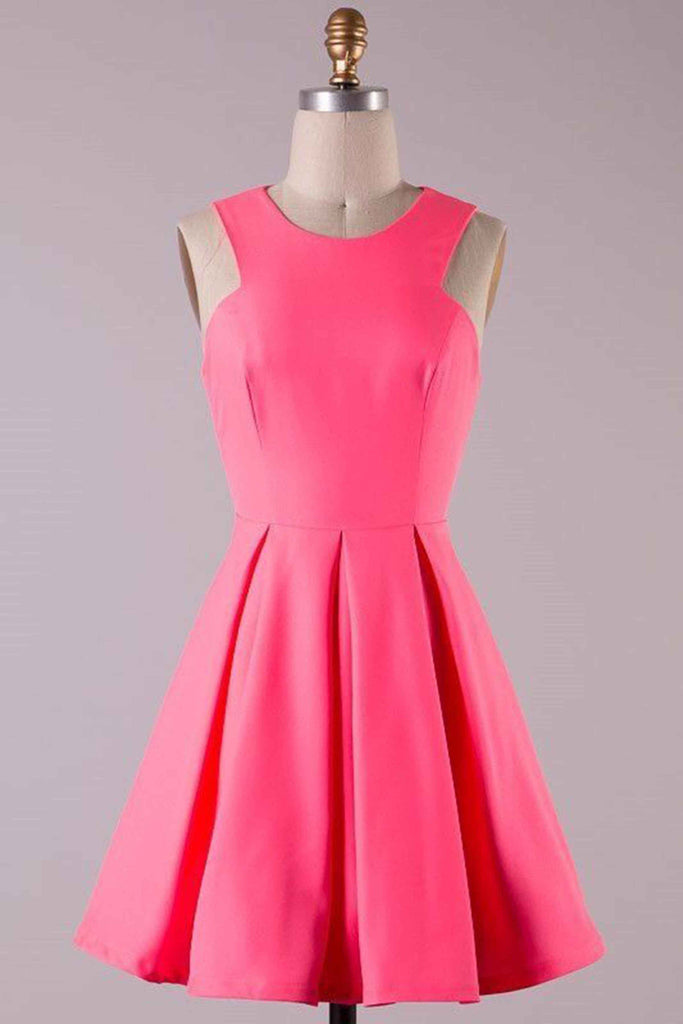 Sweet 16 Dresses | Pink chiffon round neck simple cheap short prom dress